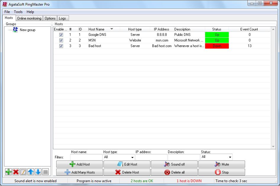 Click to view Agatasoft PingMaster Pro 2.1 screenshot